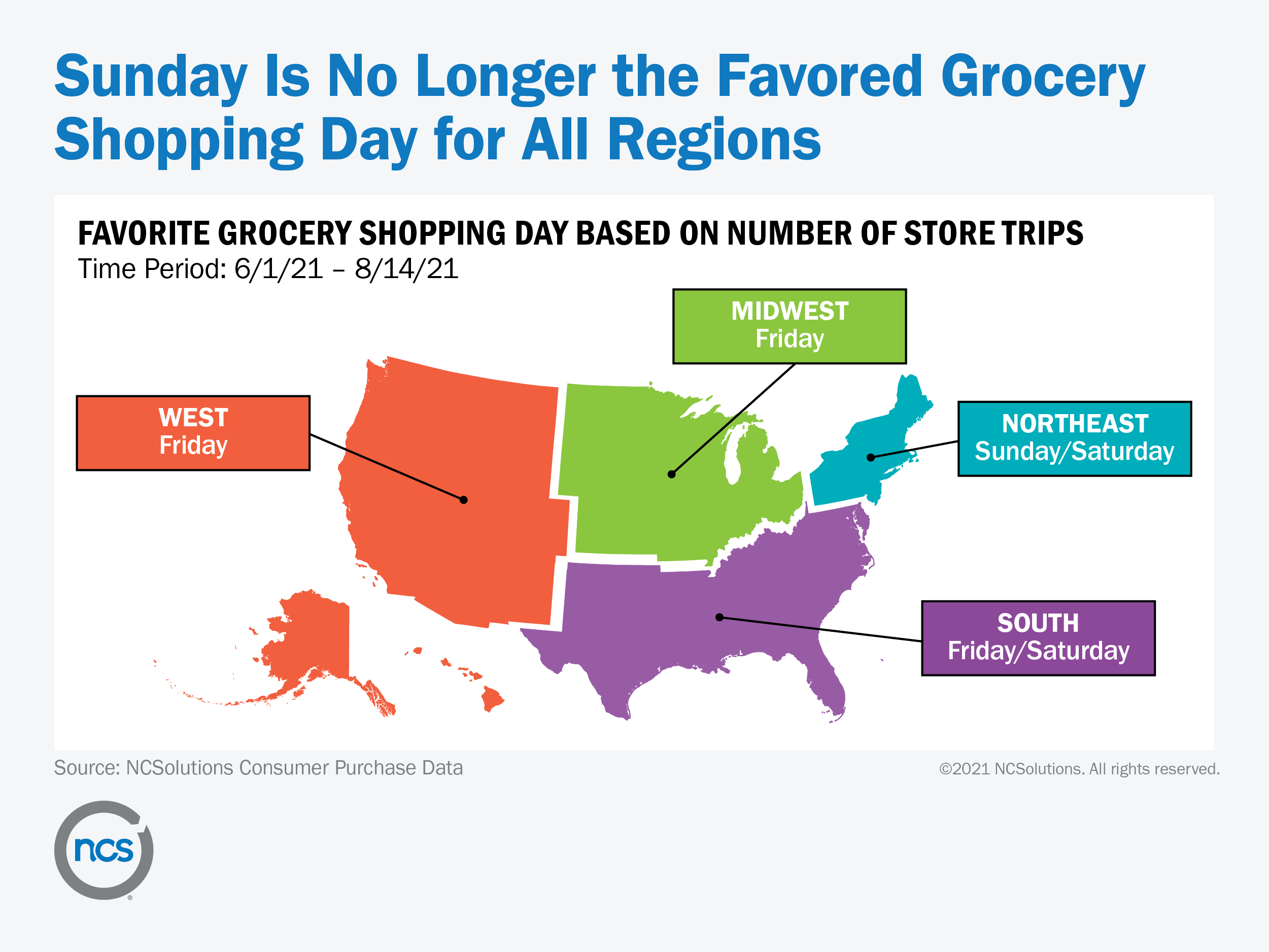 map of U.S. shows that different regions have different preferred days to grocery shop