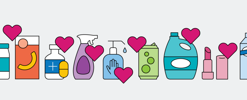 CPG products with hearts and a gray background