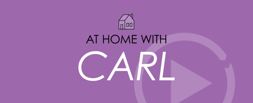 Purple background with At Home With Carl Text