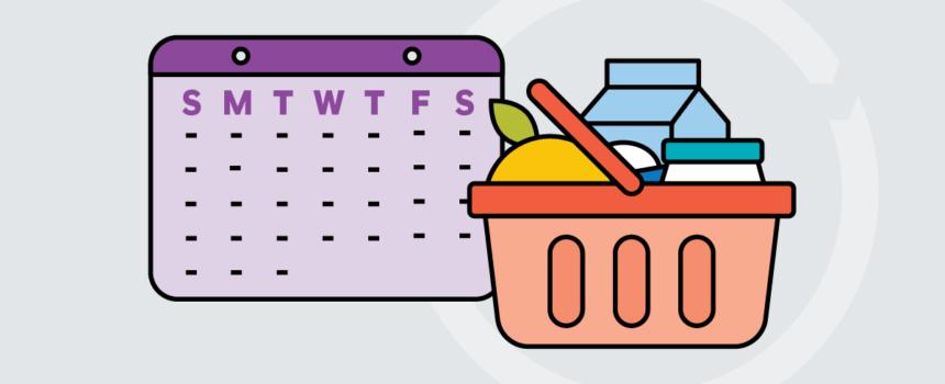 icon of calendar and shopping car